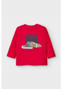 Czerwona koszulka z długim rękawem Mayoral casualowa, z aplikacjami
