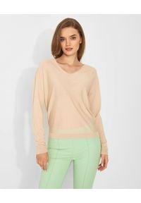 HEMISPHERE - Beżowy sweter z wełny merino. Kolor: beżowy. Materiał: wełna. Styl: klasyczny