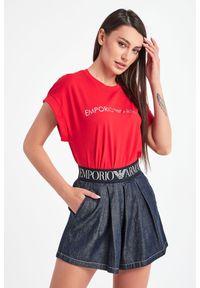 Emporio Armani Swimwear - T-SHIRT EMPORIO ARMANI SWIMWEAR. Materiał: materiał, bawełna. Długość rękawa: krótki rękaw. Długość: krótkie. Wzór: nadruk