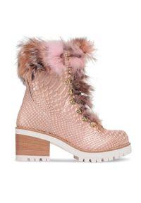 Różowe botki New Italia Shoes z aplikacjami, na średnim obcasie, z cholewką