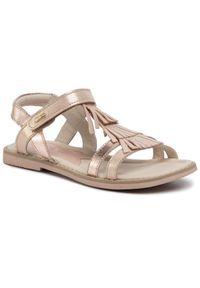 Złote sandały Lasocki Young z aplikacjami