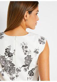 Sukienka ołówkowa bonprix biało-czarny w kwiaty. Kolor: biały. Wzór: kwiaty. Typ sukienki: ołówkowe