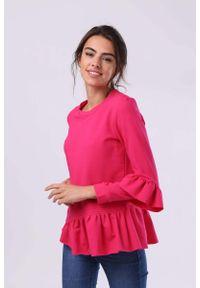 Nommo - Ciemno Różowa Bawełniana Bluzka z Falbankami. Typ kołnierza: kołnierz z falbankami. Kolor: różowy. Materiał: bawełna