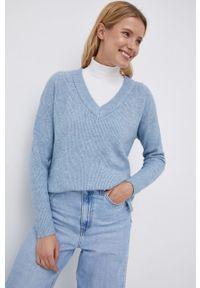 Vila - Sweter. Okazja: na co dzień. Kolor: niebieski. Materiał: dzianina. Długość rękawa: długi rękaw. Długość: długie. Styl: casual