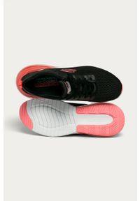 Czarne buty sportowe skechers na obcasie, z cholewką, na sznurówki