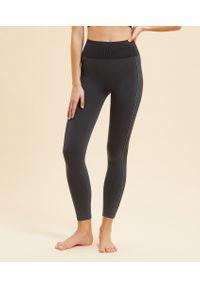 Czarne spodnie sportowe Etam długie, z podwyższonym stanem, na jogę i pilates