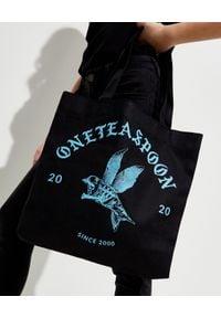 ONETEASPOON - EDYCJA LIMITOWNA OneTeaspoon x Moliera 2 - Czarna torba shopper z logo. Kolor: czarny. Wzór: nadruk. Styl: klasyczny. Rodzaj torebki: na ramię
