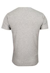 Szary t-shirt Just Yuppi krótki, casualowy, z krótkim rękawem, z dekoltem w serek