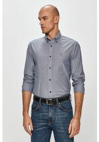 Niebieska koszula TOMMY HILFIGER z długim rękawem, button down, z aplikacjami, na co dzień