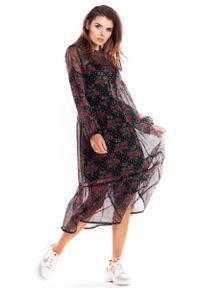 Awama - Zwiewna Wzorzysta Sukienka Szyfonowa - Wzór 1. Materiał: szyfon. Wzór: kwiaty