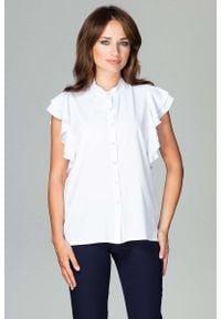 Katrus - Biała Koszulowa Bluzka z Falbankowym Rękawem. Kolor: biały. Materiał: elastan, poliester