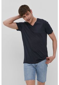 Niebieski t-shirt Brave Soul gładki, casualowy, na co dzień