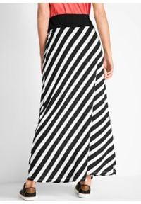 Spódnica shirtowa bonprix czarno-biały w paski. Kolor: czarny. Materiał: wiskoza. Długość: długie. Wzór: paski