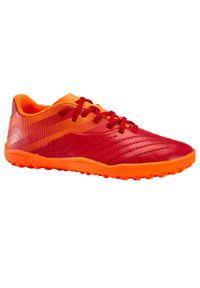 KIPSTA - Buty do piłki nożnej AGILITY140 HG dla dzieci sznurowane. Kolor: czerwony, wielokolorowy, pomarańczowy. Materiał: guma, poliester. Szerokość cholewki: normalna