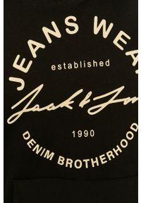 Czarna bluza nierozpinana Jack & Jones na co dzień, casualowa, z kapturem