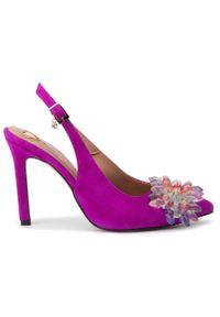 Fioletowe sandały R.Polański eleganckie, na obcasie, z aplikacjami, na średnim obcasie