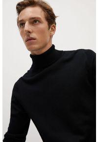 Czarny sweter Mango Man z golfem, z długim rękawem