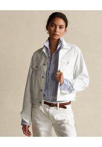 Ralph Lauren - RALPH LAUREN - Biała jeansowa kurtka. Typ kołnierza: polo. Kolor: biały. Materiał: jeans. Długość rękawa: długi rękaw. Długość: długie