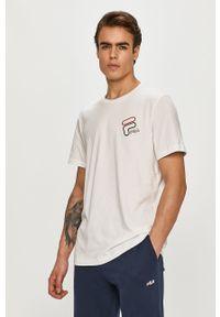 Biały t-shirt Fila z nadrukiem, casualowy, na co dzień