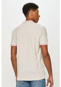 Szara koszulka polo Cross Jeans casualowa, z aplikacjami