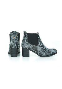 Czarne botki Zapato w kolorowe wzory, na wiosnę, klasyczne