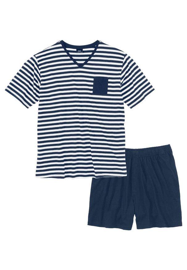 Piżama z krótkimi spodenkami bonprix ciemnoniebiesko-biały w paski. Kolor: niebieski. Długość: krótkie. Wzór: paski