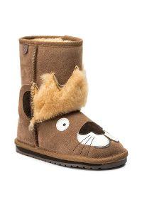 Brązowe buty zimowe EMU Australia z cholewką, z aplikacjami