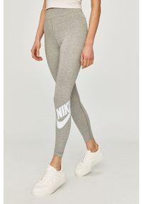 Nike Sportswear - Legginsy. Stan: podwyższony. Kolor: szary. Wzór: nadruk