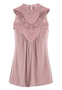 Top koronkowy bonprix różowobrązowy. Kolor: różowy. Materiał: koronka. Wzór: koronka