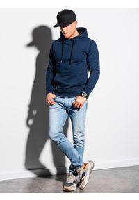Ombre Clothing - Bluza męska z kapturem B1224 - granatowa - XXL. Typ kołnierza: kaptur. Kolor: niebieski. Materiał: poliester, bawełna