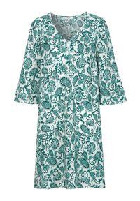 Cellbes Wzorzysta sukienka zielony we wzory female zielony/ze wzorem 58/60. Typ kołnierza: dekolt w serek. Kolor: zielony. Typ sukienki: rozkloszowane