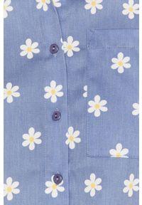 Niebieska koszula Local Heroes krótka, w kwiaty, na co dzień