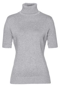 Szary sweter bonprix z krótkim rękawem, melanż, krótki, z golfem
