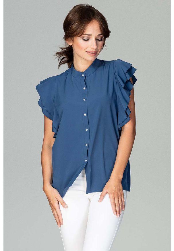 Katrus - Granatowa Koszulowa Bluzka z Falbankowym Rękawem. Kolor: niebieski. Materiał: elastan, poliester