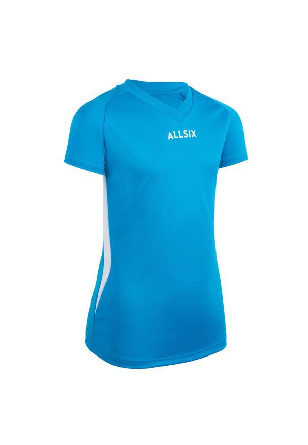 ALLSIX - Koszulka siatkarska dla dziewczynek Allsix V100 niebieska. Kolor: niebieski, wielokolorowy, turkusowy, biały. Materiał: poliester, materiał