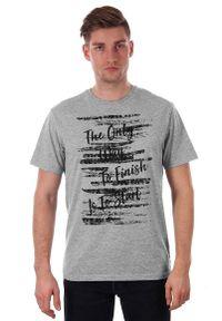 Szary Melanżowy T-shirt Męski z Nadrukiem, Krótki Rękaw, Just Yuppi, Motywacyjna Koszulka. Okazja: na co dzień. Kolor: szary. Materiał: poliester, bawełna. Długość rękawa: krótki rękaw. Długość: krótkie. Wzór: napisy, nadruk. Styl: casual