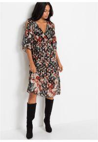 Czarna sukienka bonprix w kwiaty, z dekoltem w serek