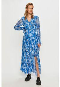 Niebieska sukienka The Kooples na co dzień, w kwiaty, maxi, prosta