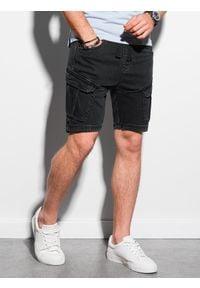 Ombre Clothing - Krótkie spodenki męskie jeansowe W220 - grafitowe - XXL. Okazja: na co dzień. Kolor: szary. Materiał: jeans. Długość: krótkie. Sezon: wiosna, lato. Styl: casual