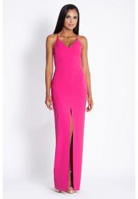 Różowa sukienka wizytowa Dursi elegancka, maxi, na ramiączkach