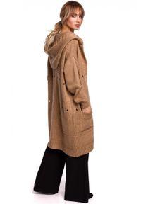 Sweter MOE w ażurowe wzory, długi, z kapturem