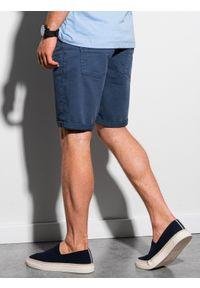 Ombre Clothing - Krótkie spodenki męskie casual W303 - niebieskie - XXL. Okazja: na co dzień. Kolor: niebieski. Materiał: tkanina, bawełna, elastan. Długość: krótkie. Sezon: lato. Styl: casual