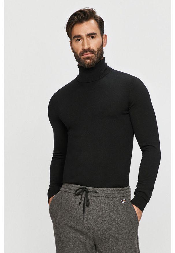 Czarny sweter Hugo z golfem, casualowy, długi