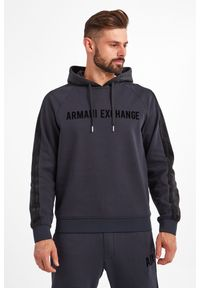Armani Exchange - BLUZA ARMANI EXCHANGE. Materiał: welur. Długość rękawa: długi rękaw. Długość: długie. Wzór: nadruk