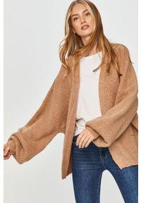 Beżowy sweter rozpinany Answear Lab wakacyjny, z długim rękawem, długi