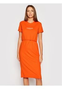 Calvin Klein Sukienka codzienna Logo K20K202805 Pomarańczowy Regular Fit. Okazja: na co dzień. Kolor: pomarańczowy. Typ sukienki: proste. Styl: casual