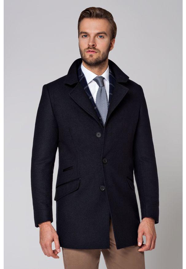 Niebieski płaszcz Lancerto klasyczny, z klasycznym kołnierzykiem, na zimę
