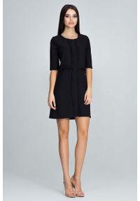 Czarna sukienka Figl mini, z falbankami, elegancka