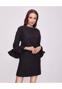 Czarna sukienka mini VALENTINO na randkę, z aplikacjami, z długim rękawem, wizytowa