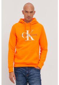 Pomarańczowa bluza nierozpinana Calvin Klein Jeans z kapturem, z nadrukiem
